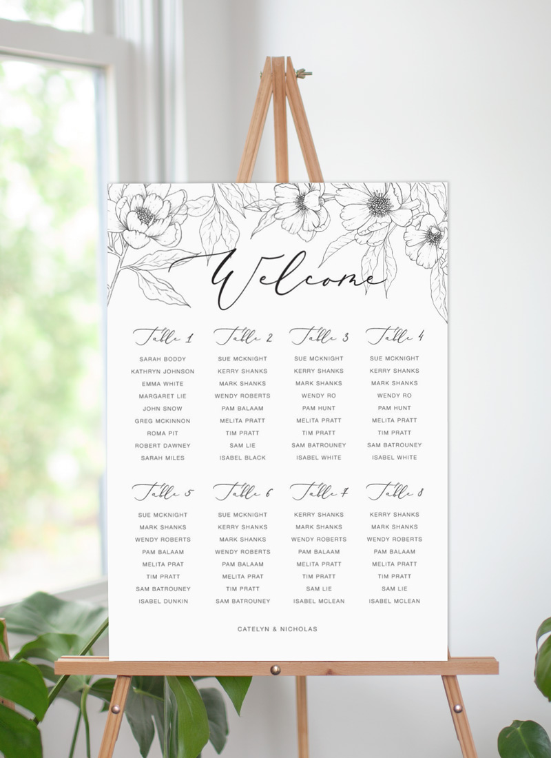 Graphite Blooms  - Seating Charts