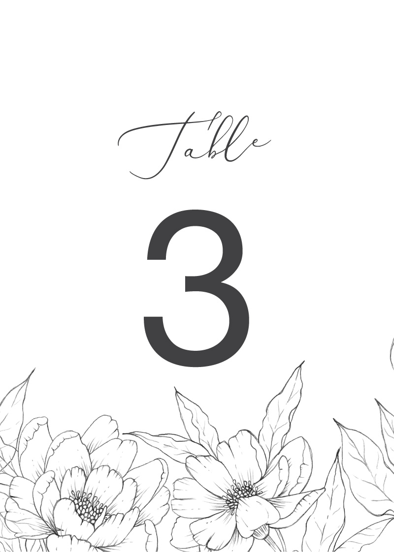 Graphite Blooms  - Table Numbers