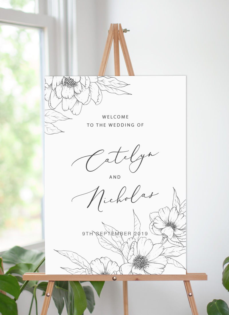 Graphite Blooms  - Wedding Signs