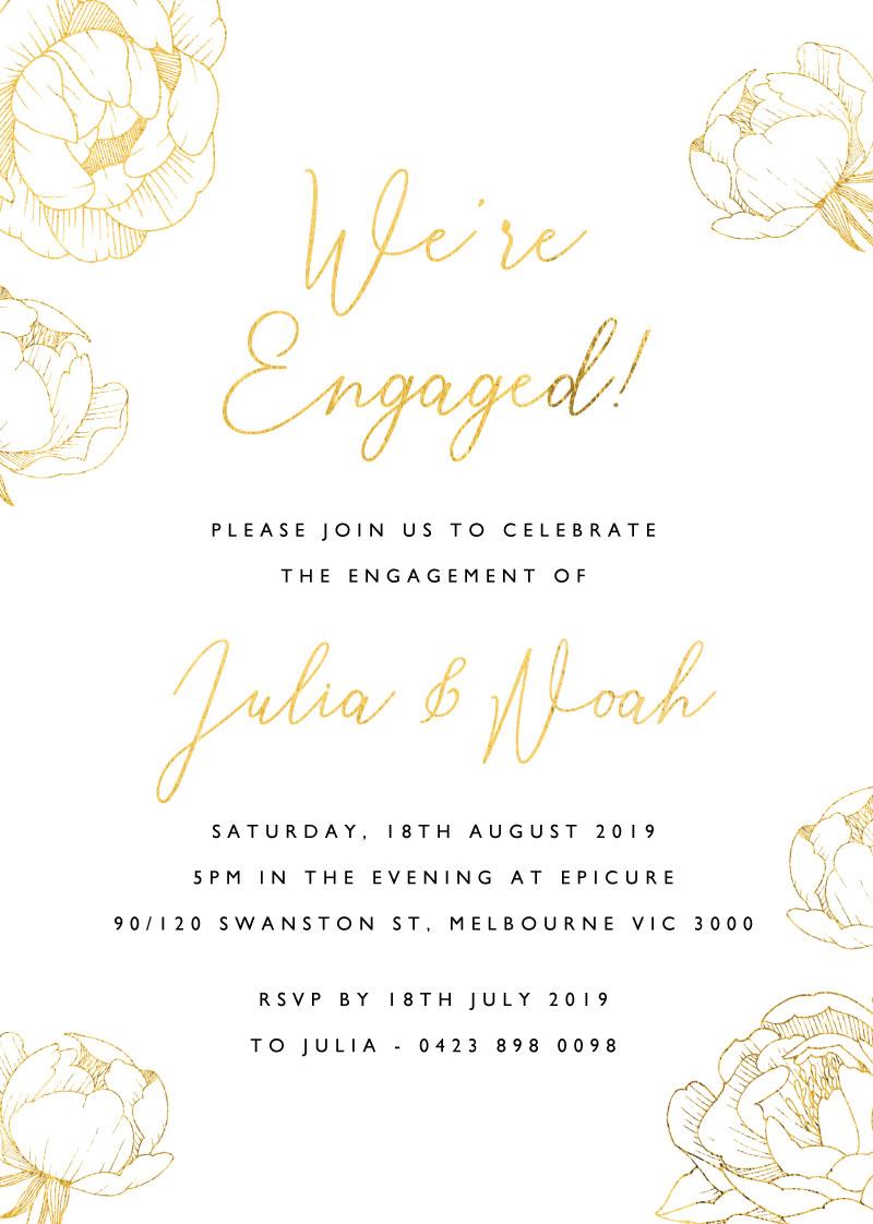 Peony Bloom - Engagement Invitations