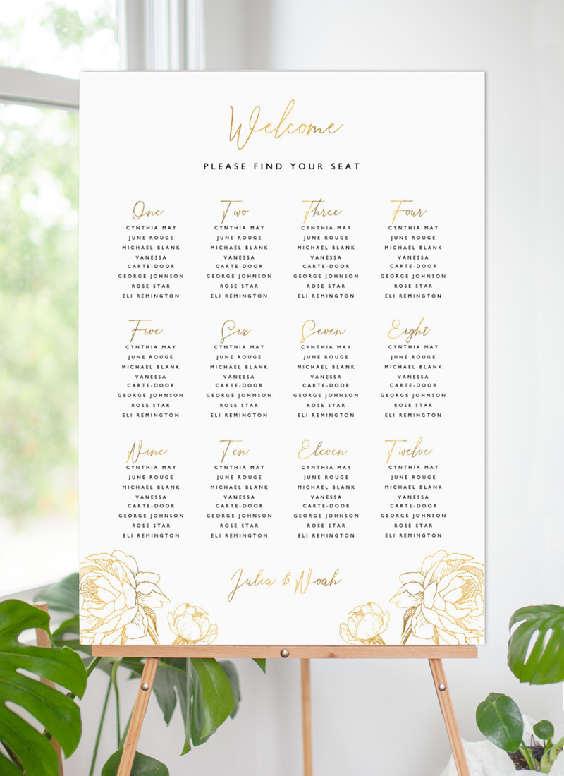 Peony Bloom - Seating Charts