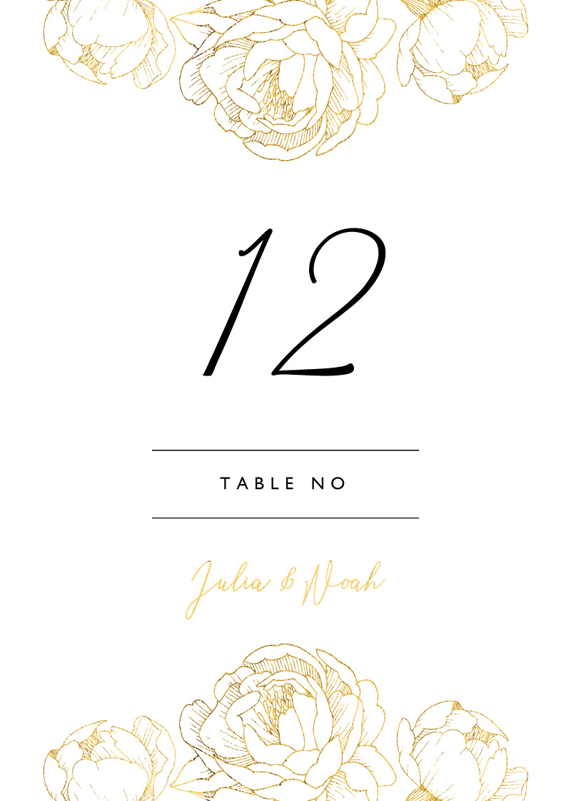 Peony Bloom - Table Numbers