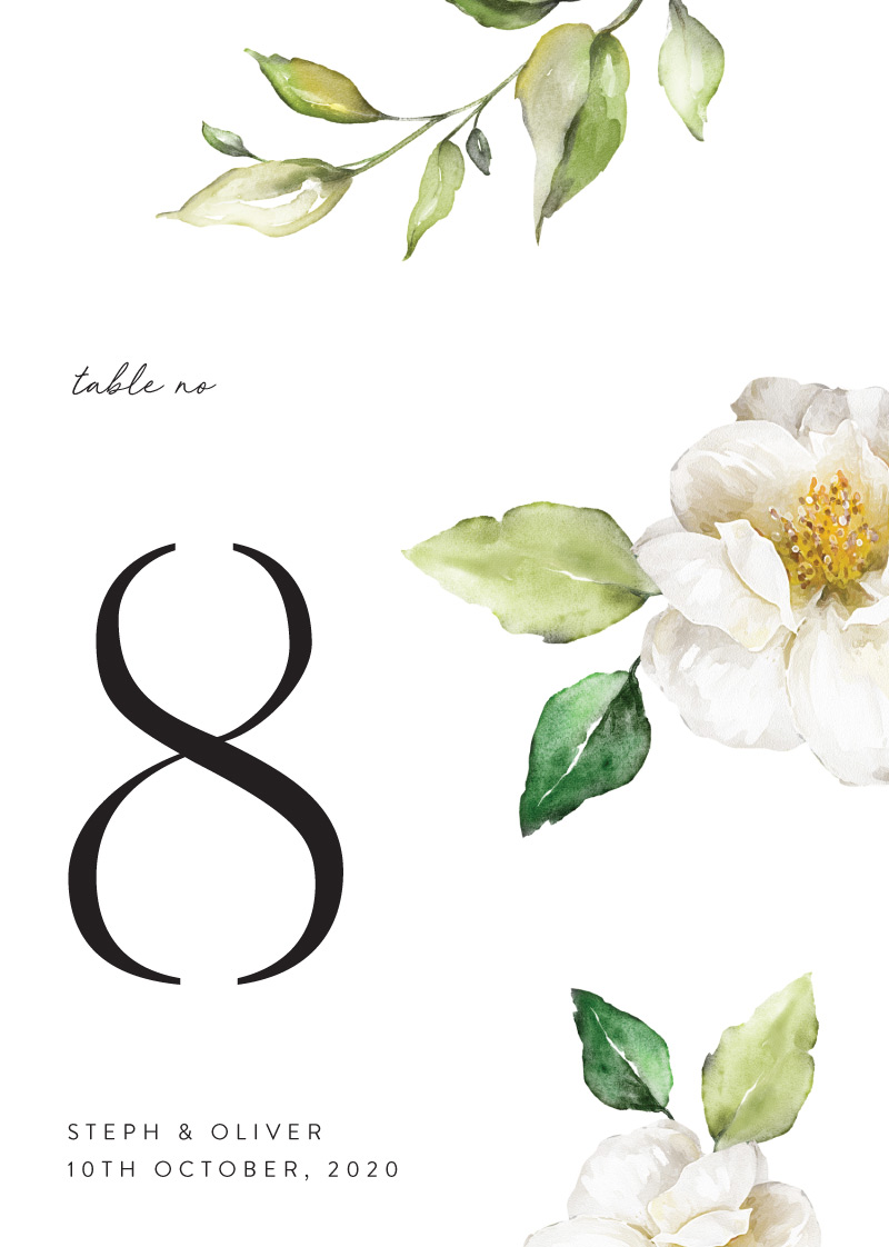 White Garden - Table Numbers