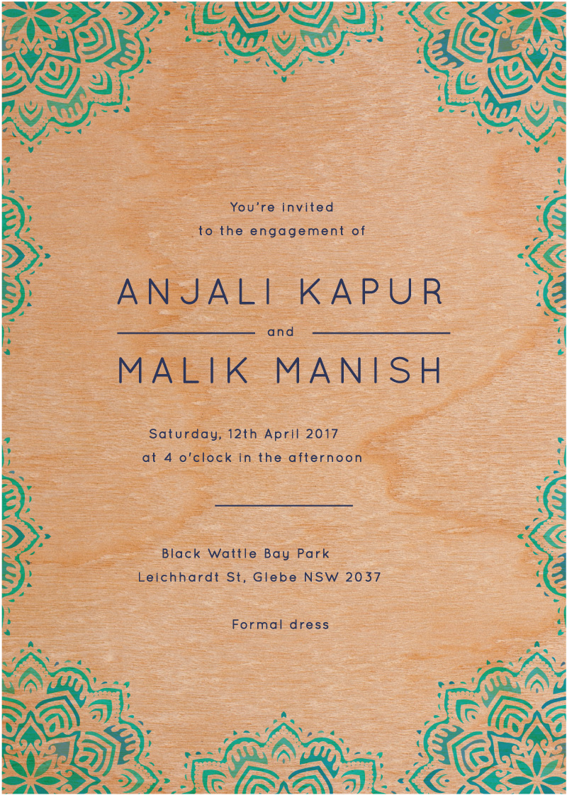Namaste - engagement invitations