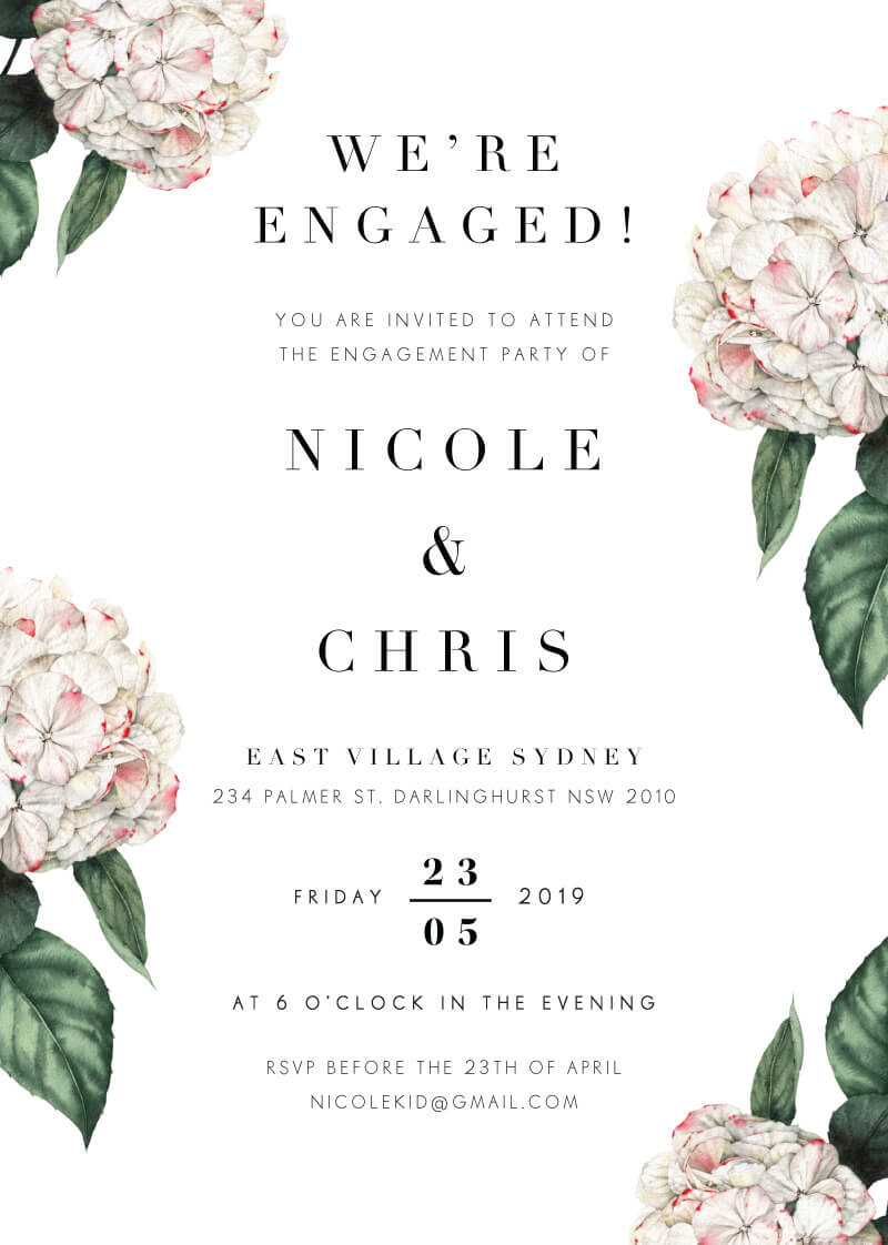 Hydrangea - Engagement Invitations
