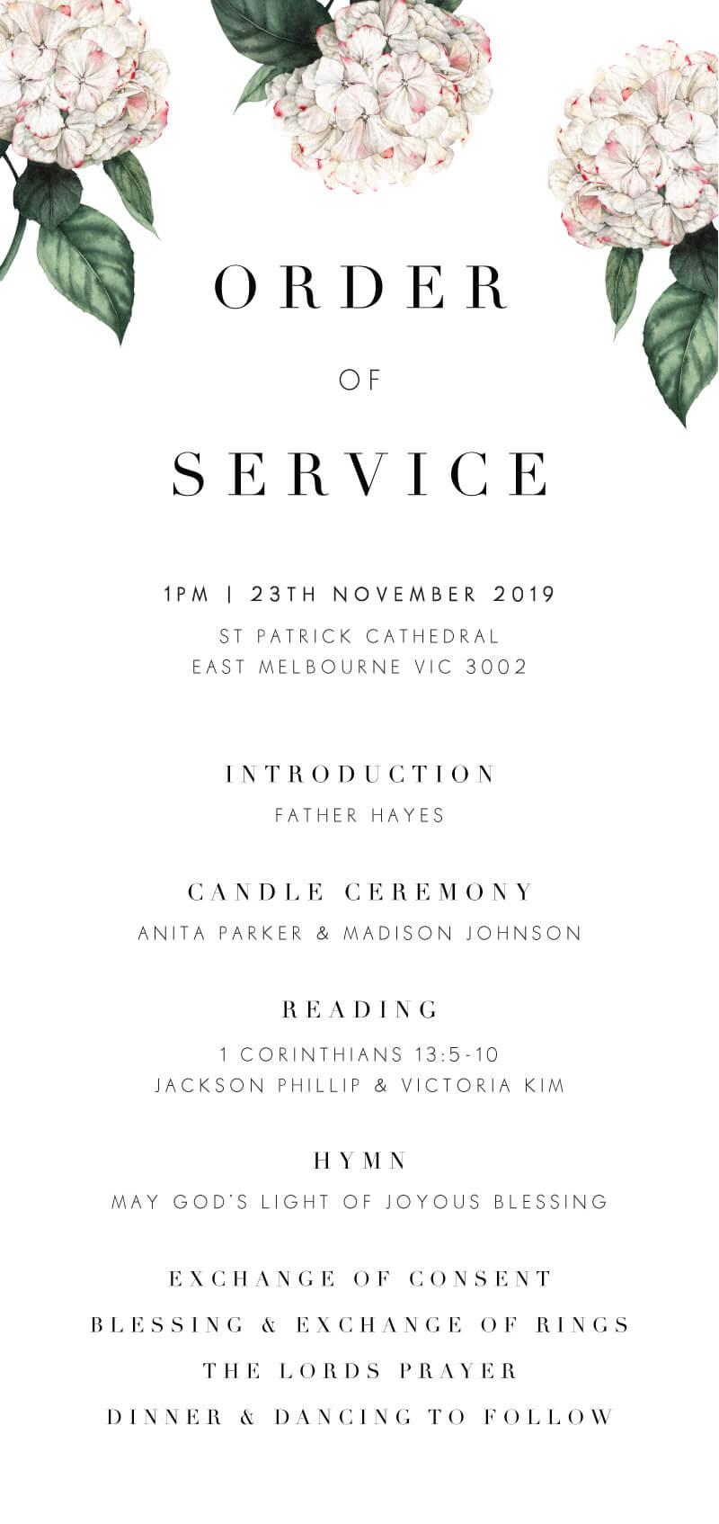 Hydrangea - Wedding Programs