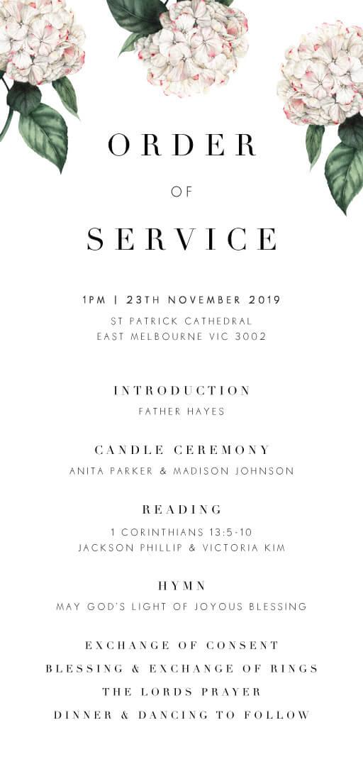 Hydrangea - Order of Service