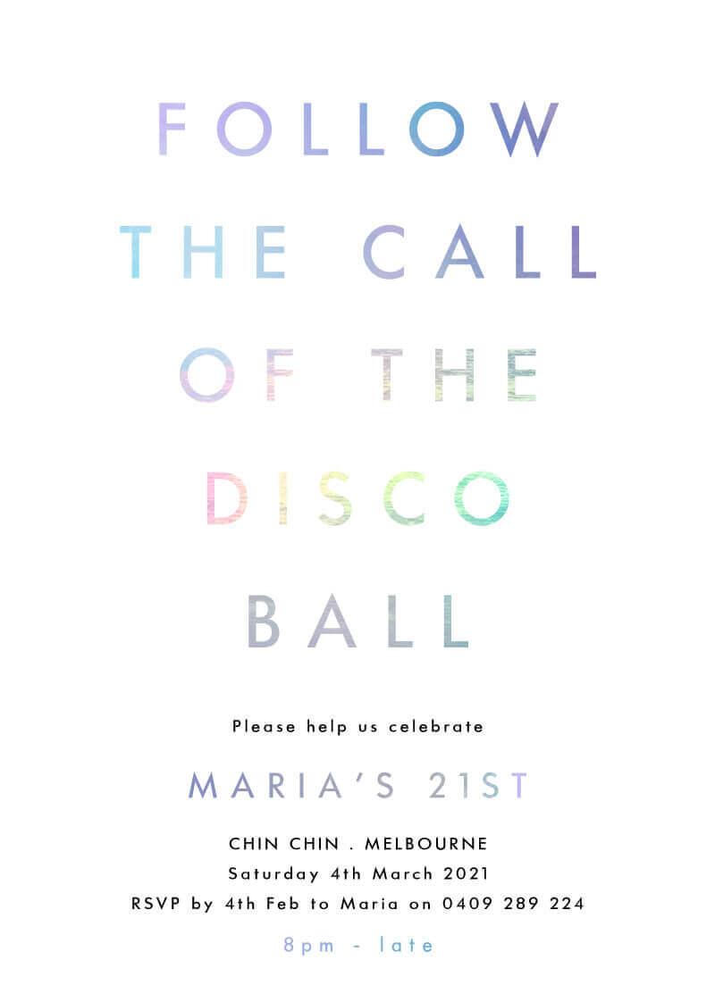 Disco Mood - Birthday Invitations