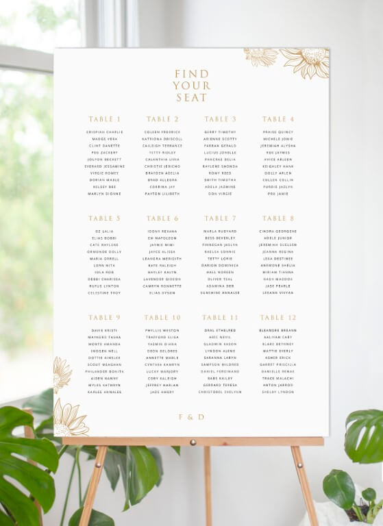 Golden Sunflower - seating charts