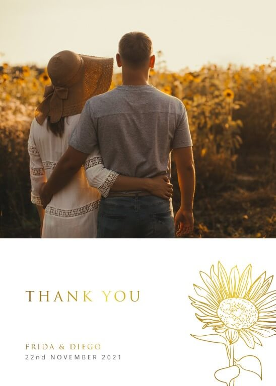 Golden Sunflower Thank You - Thank You Cards