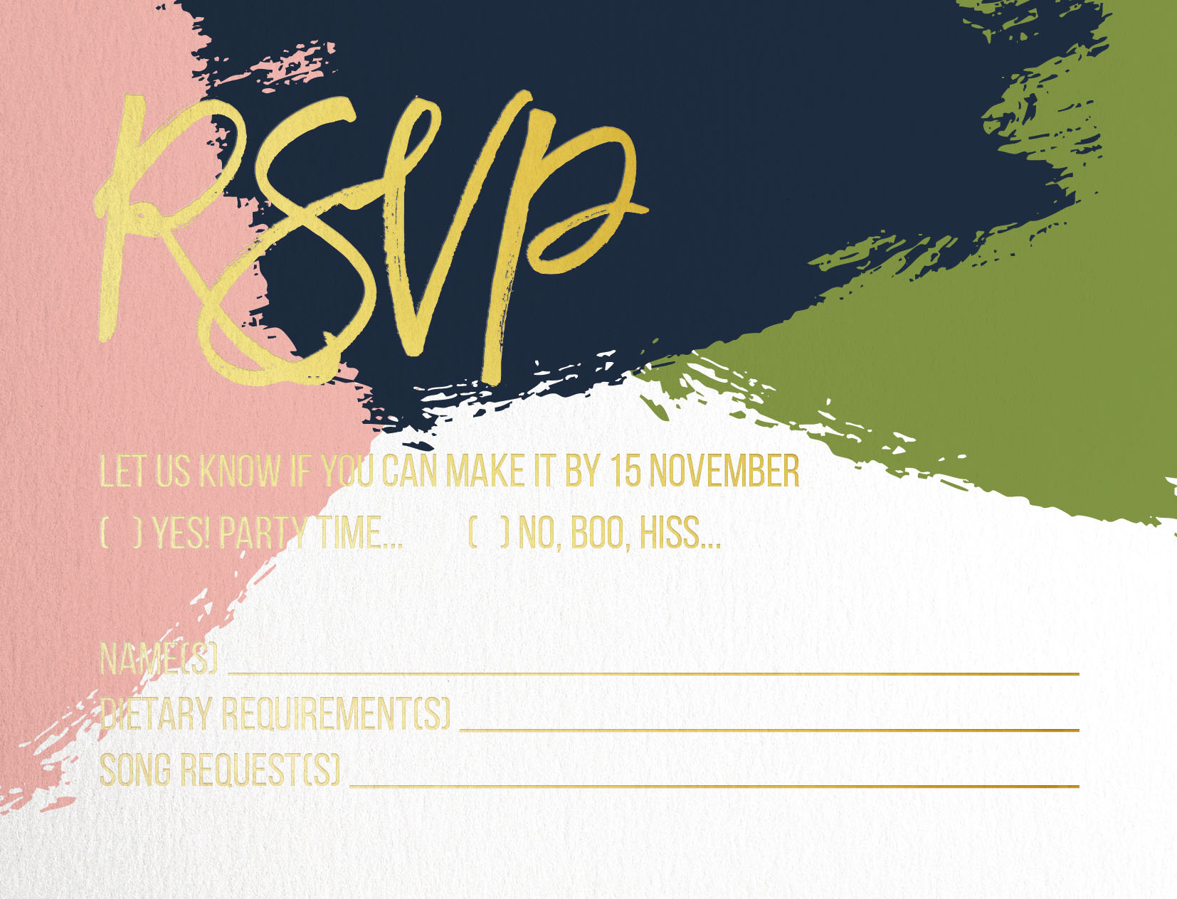 Colour block - RSVP Cards