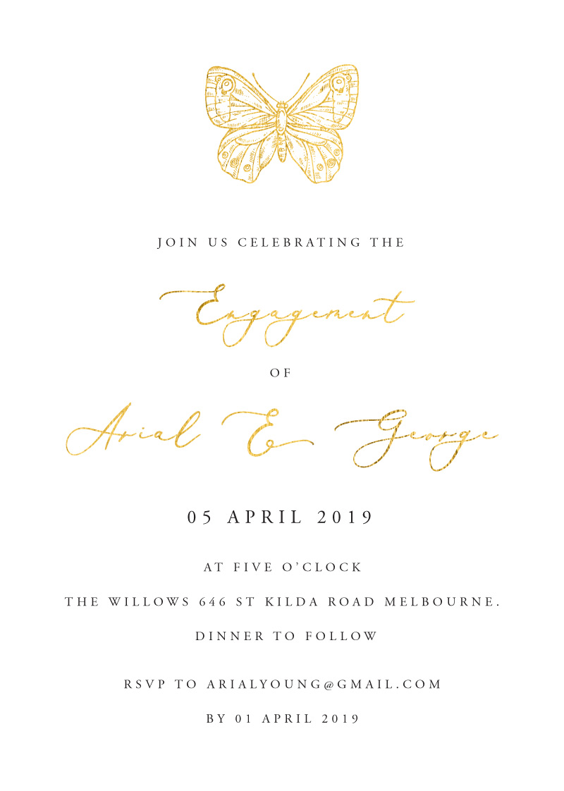 Golden Butterfly - Engagement Invitations