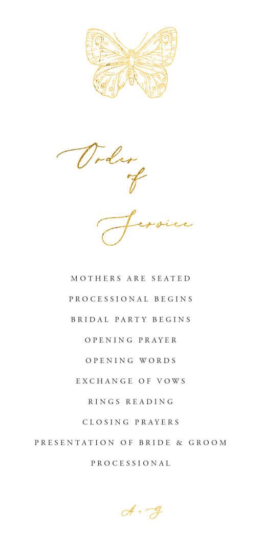 Golden Butterfly - Wedding Programs