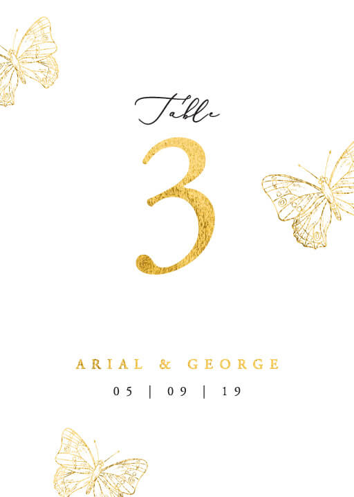 Golden Butterfly - table numbers