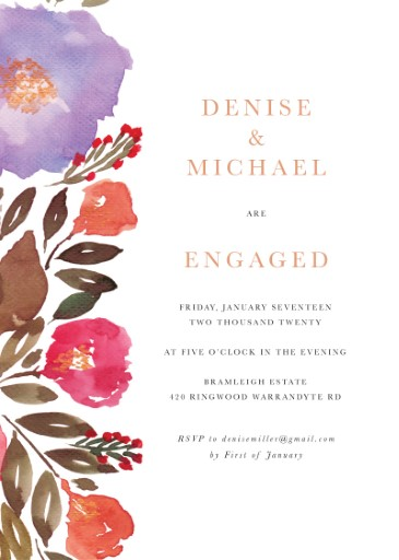 Violet Fall - engagement invitations