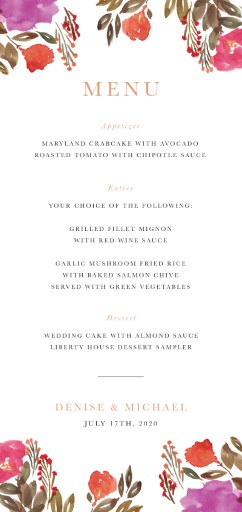 Violet Fall - Wedding Menu