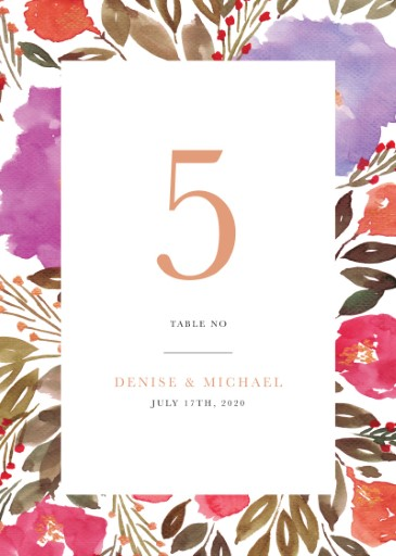 Violet Fall - table numbers