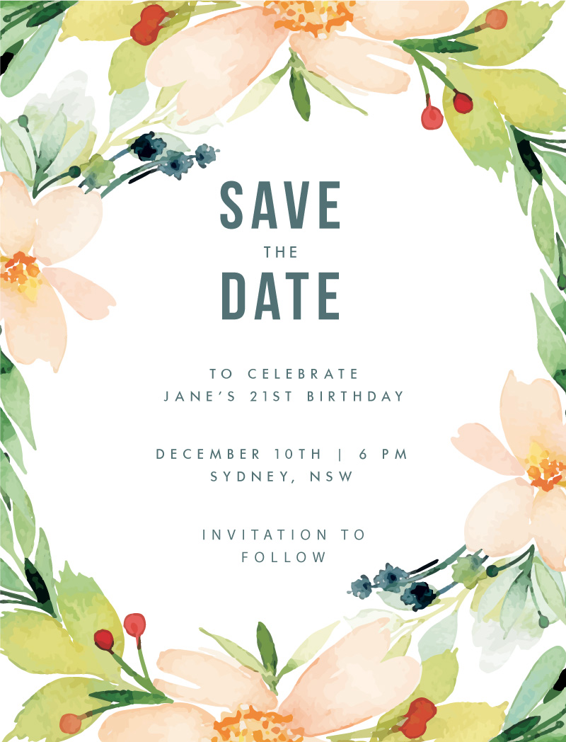 Floral Edge - Save The Date