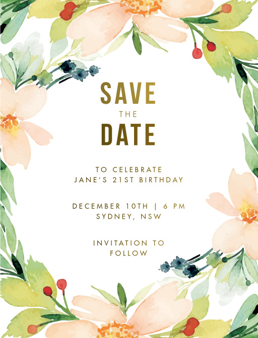 Floral Edge Save The Date - Save The Date