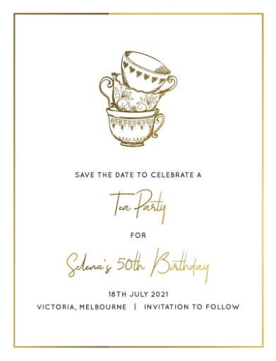 High Tea Party Save The Date - Save The Date