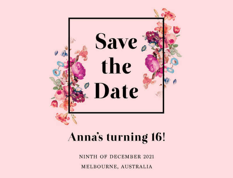 Floral Sweet Sixteen - Save The Date
