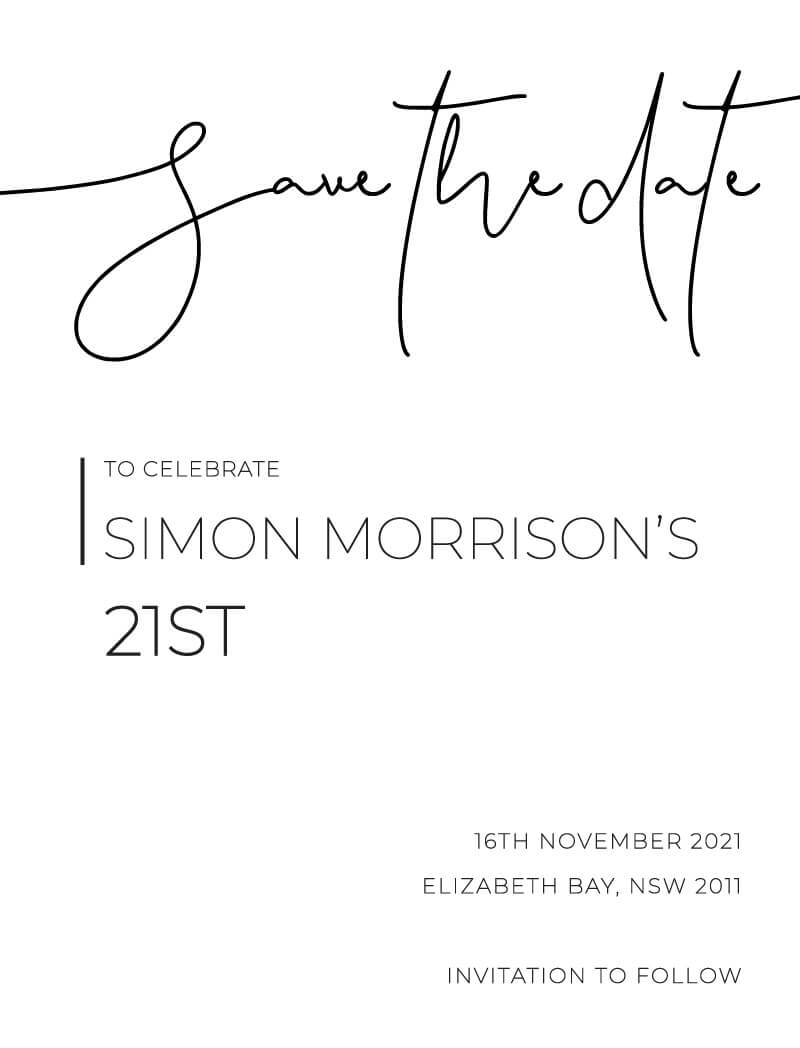 Minimalist Black and White - Save The Date