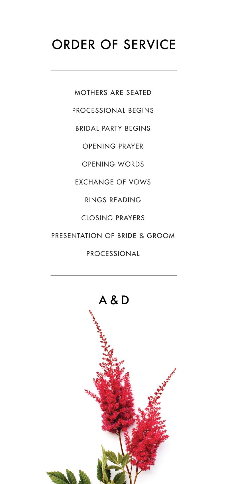 Blooming Red - Wedding Programs