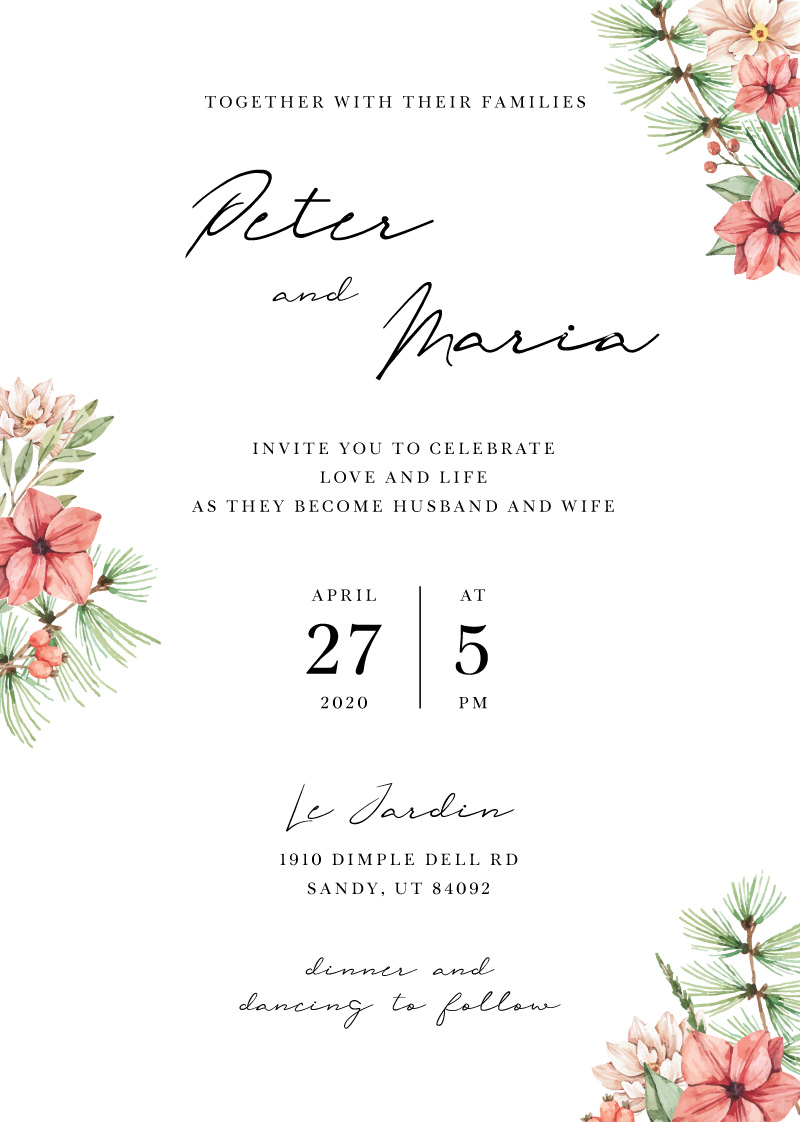 Christmas Pine - Wedding Invitations