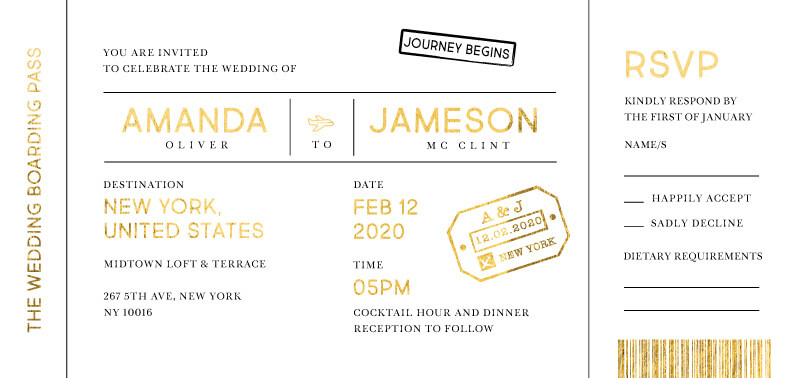 Welcome on Board - Wedding Invitations