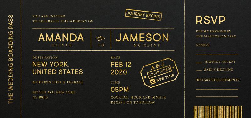 Welcome on Board - Wedding Invitations