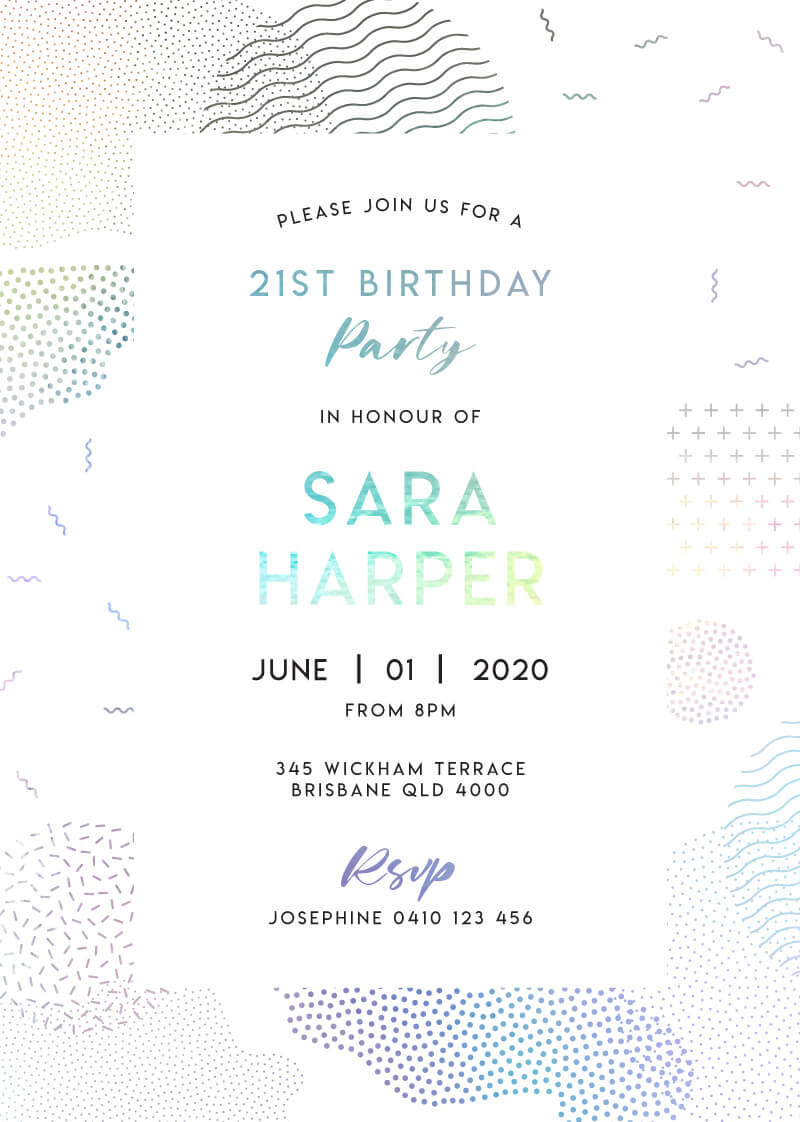 Holo Geo - Birthday Invitations