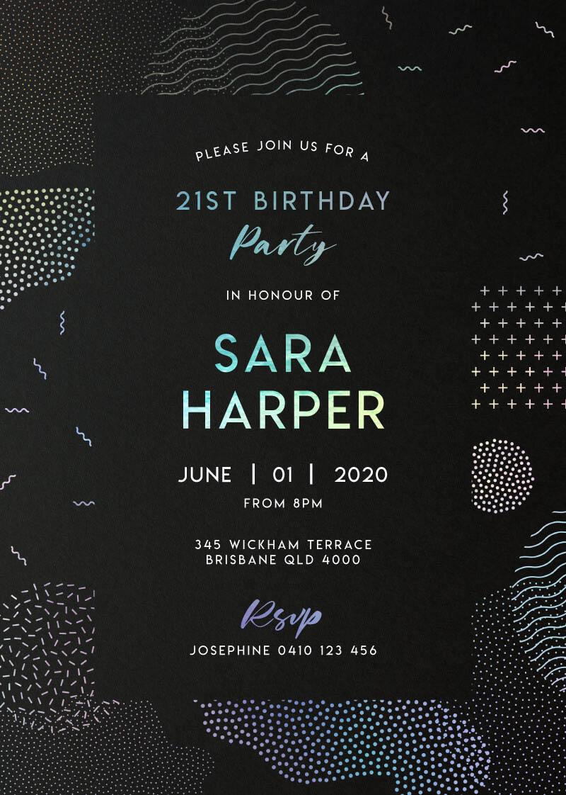 Holo Geo - Birthday Invitations