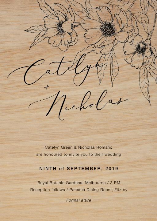 Graphite Bloom Wedding Invitations - wedding invitations