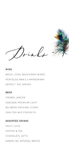 Peacock Blue - Wedding Menu