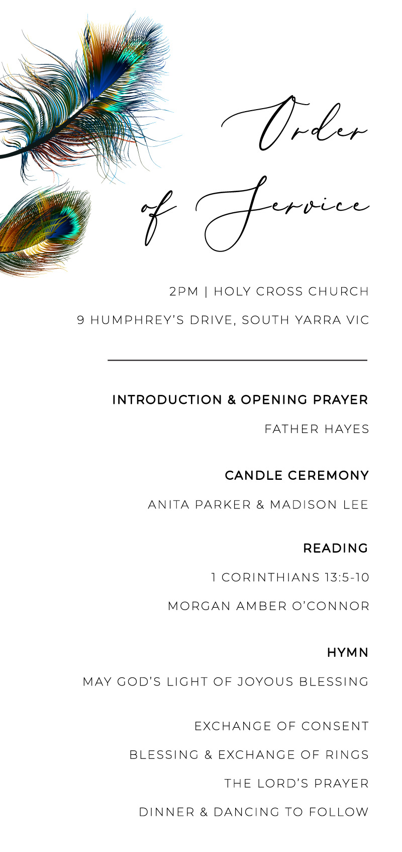 Peacock Blue - Wedding Programs