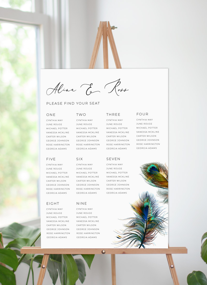 Peacock Blue - Seating Charts