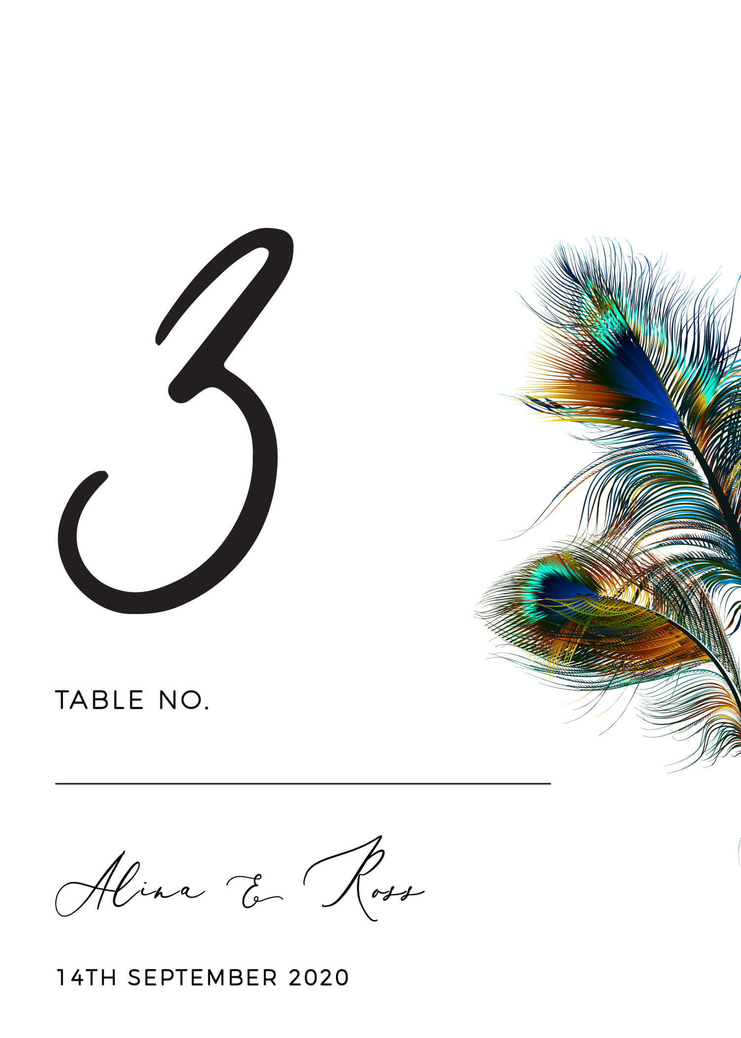 Peacock Blue - Table Numbers
