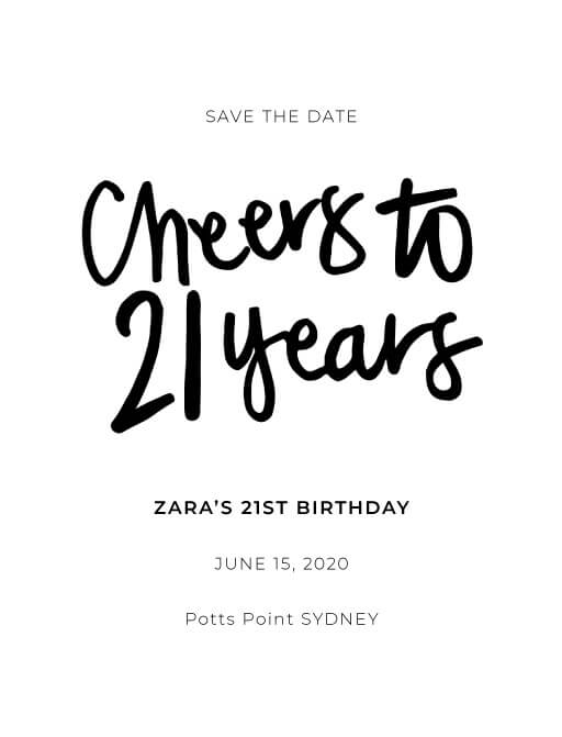 Cheers to 21 years Birthday Invitations - Save The Date