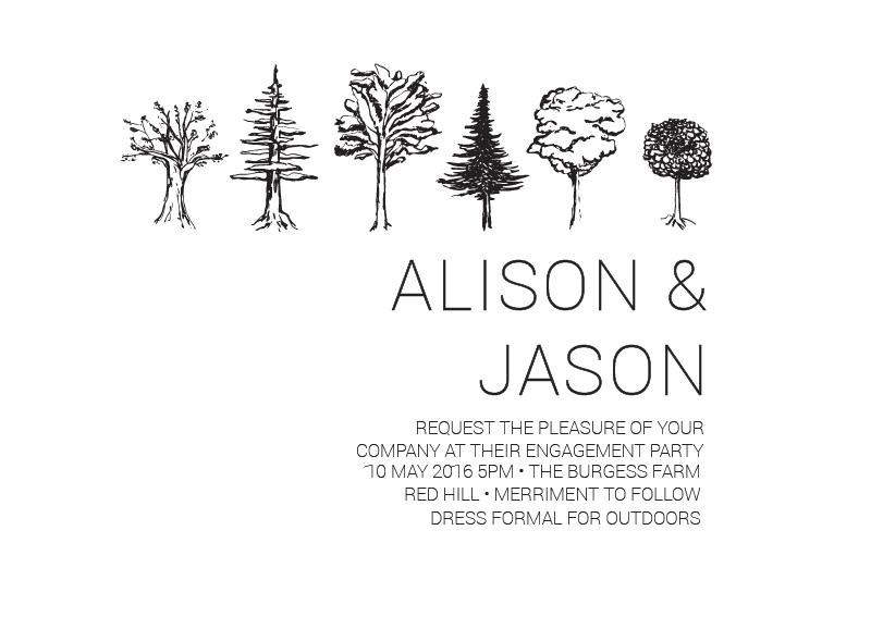 Paper Trees Wedding Set - engagement invitations