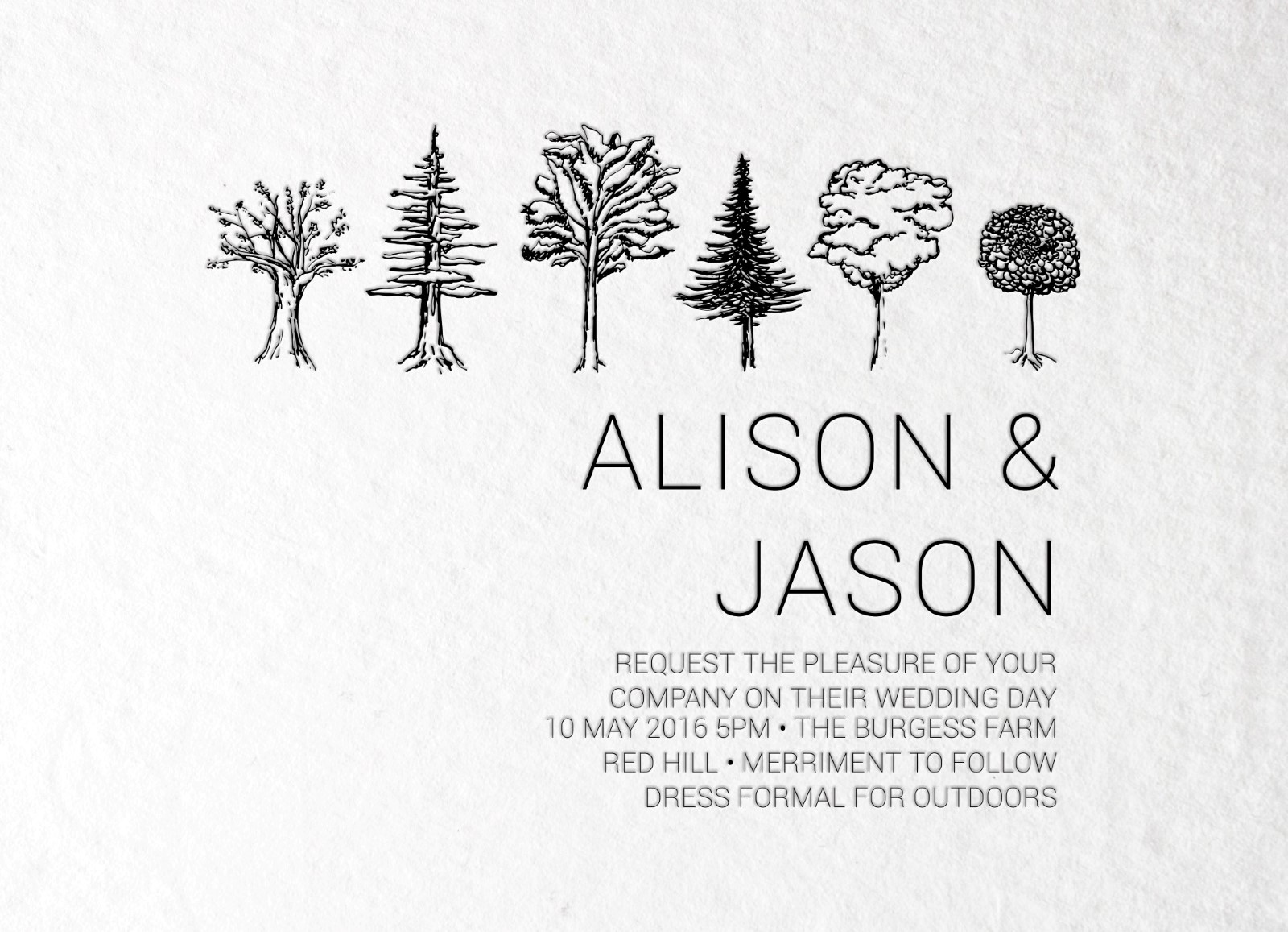 Paper Trees Wedding Set - Invitation