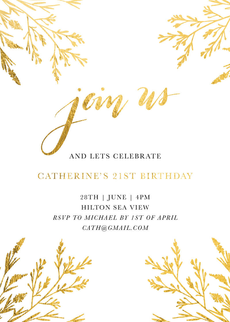 Dearly Botanical Leaves - Birthday Invitations