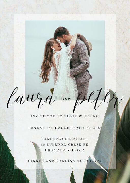 Tropical Leaves Wedding Invitations - wedding invitations