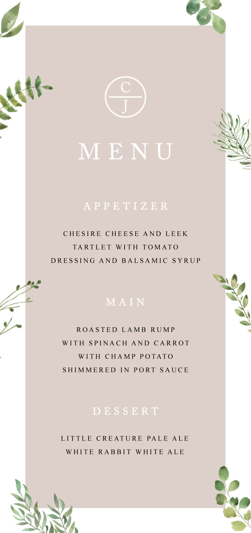 Botanical Fun - Menu