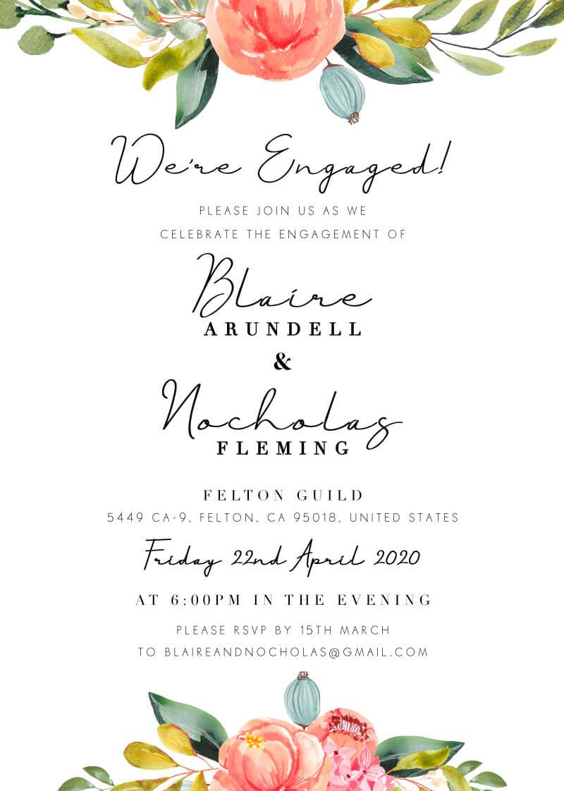 Spring Bouquet - Engagement Invitations
