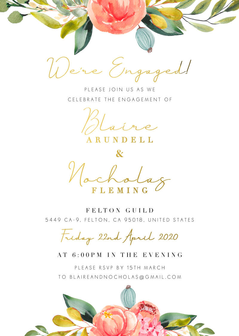 Spring Bouquet - Engagement Invitations