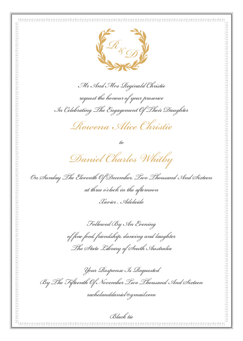 Regal Wreath - engagement invitations