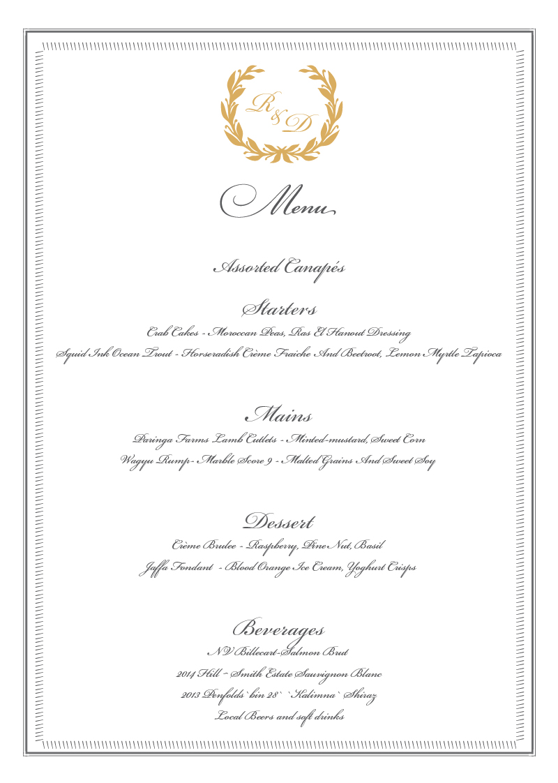 Regal Wreath - Menu Card