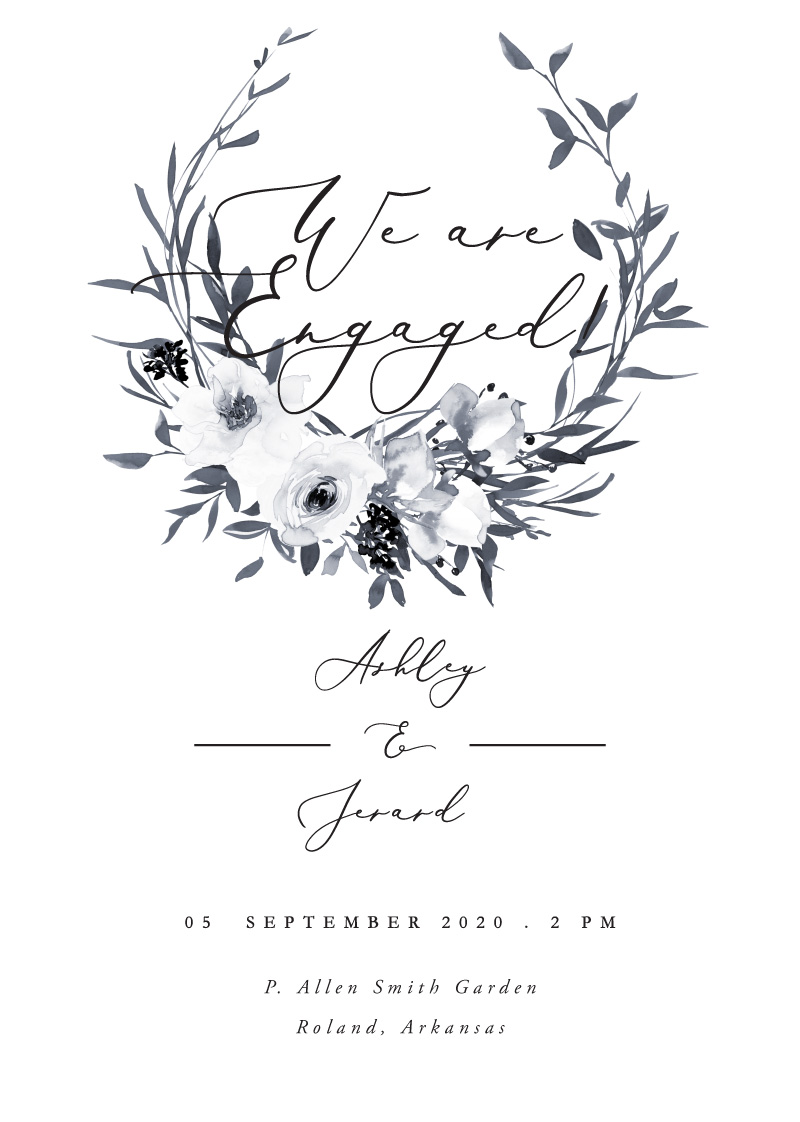 Floral Crown Classic - Engagement Invitations