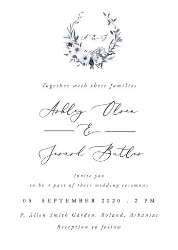 Floral Crown Classic Wedding Invitations - wedding invitations