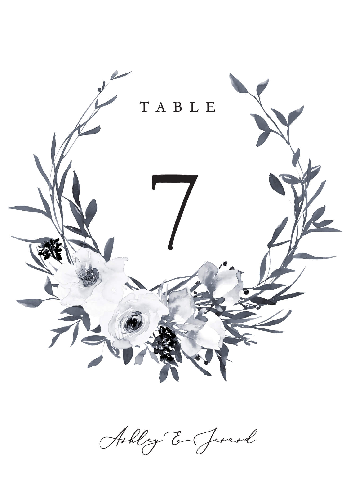 Floral Crown Classic - Table Numbers